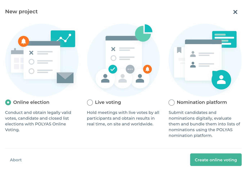 Wählen Sie im POLYAS Online-Wahlmanager das Produkt Live Voting aus.